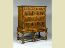 An early 18th Century period walnut veneered chest on stand
