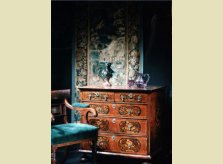 A selection of fine antiques from Hallidays' showroom, including desk chair, bronze bust and marquetry chest of drawers