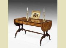 George III mahogany veneered drop leaf sofa table with satinwood crossbanding