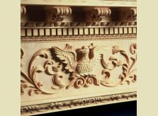 The skill of our craftsmen is displayed in this bespoke, hand carved eagle motif.