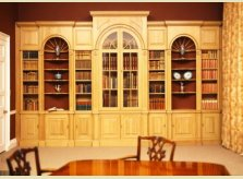 Bookcases with display alcoves in waxed pine