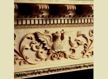Centre block carving on Eagle mantelpiece