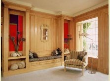 Hallidays contemporary style pine panelling with concealed storage below seat and in window bay