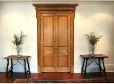 Double pine doors in a London apartment