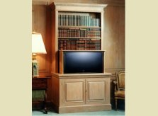 George III style limed pine bookcase with concealed lift for TV