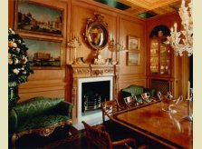 Hallidays waxed pine room panelling with hand carved coffered ceiling