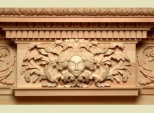 Hand carved centreblock to bespoke mantelpiece