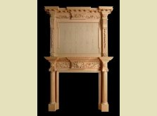 14'6 high, hand carved Mantelpiece & Overmantel