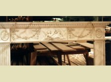 Marble paint effect on hand carved Hallidays' mantelpiece