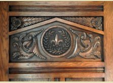 Detail of hand carved Oak door