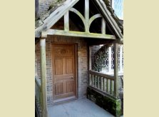Hand carved Oak front door with Linen-fold panels