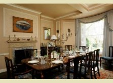 Painted wood panelled dining room by Hallidays