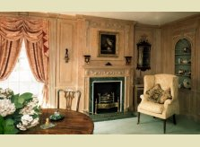 Panelled sitting room with display alcoves, in Hallidays' Limed pine