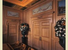 Pine doors with overdoors incorporating antique painted panels