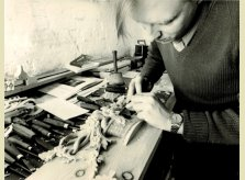 A Hallidays carver at work in 1971 - using the same tools and skills as today.