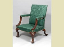 George II carved walnut, cabriole leg arm chair