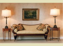 A selection of fine antique furniture, paintings, lamps and textiles on display in Hallidays' Oxfordshire showroom