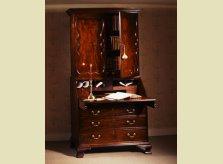 George II mahogany bureau bookcase with fine panelled doors